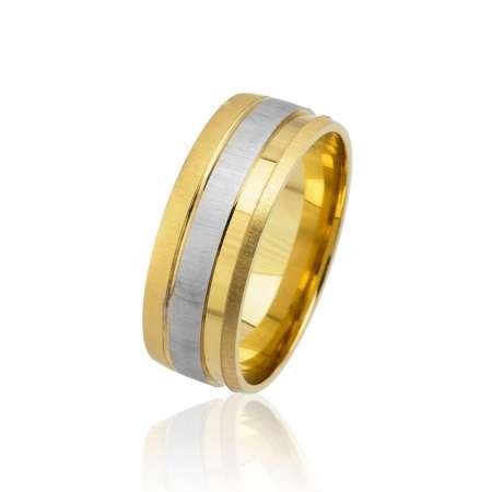 - Tek Şerit Tasarım Gold-Gri Renk 925 Ayar Gümüş Erkek Alyans
