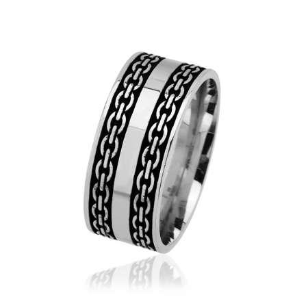 - Zincir Desen İşlemeli 925 Ayar Gümüş Erkek Alyans