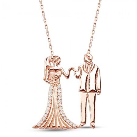 Tesbihane - 925 Ayar Gümüş Evlendik Kolye