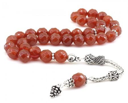 Tesbihane - 925 Ayar Gümüş Püsküllü Fasetalı Küre Kesim Kırmızı Oniks Tesbih