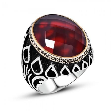 Damla Desen İşlemeli Kırmızı Büyük Zirkon Taşlı 925 Ayar Gümüş Erkek Yüzük - Thumbnail