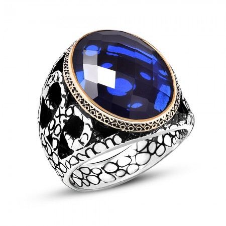 Tesbihane - Fasetalı Kesim Mavi Zirkon Taşlı 925 Ayar Gümüş Erkek Yüzük
