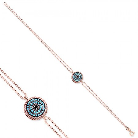 Firuze Taşlı Yuvarlak Tasarım 925 Ayar Gümüş Bayan Bileklik - Thumbnail