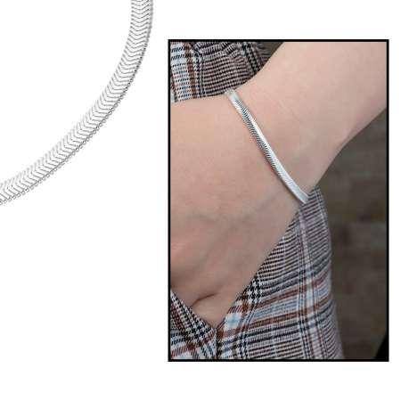 Tesbihane - 925 Ayar Gümüş Flat Snake Bayan Zincir Bileklik
