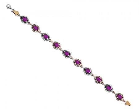 Tesbihane - 925 Ayar Gümüş Fuşya Renkli Damla Model Bileklik