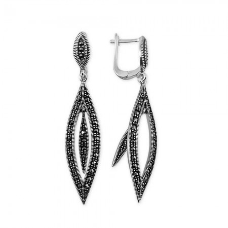 Tesbihane - 925 Ayar Gümüş Geometrik Tasarım Küpe