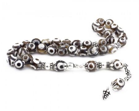 Tesbihane - 925 Ayar Gümüş Göz İşlemeli Akik Tesbih