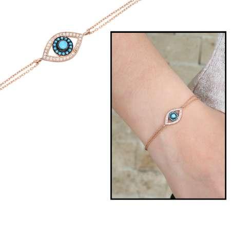 Tesbihane - Zirkon Taşlı Göz Nazar Tasarım 925 Ayar Gümüş Bayan Bileklik