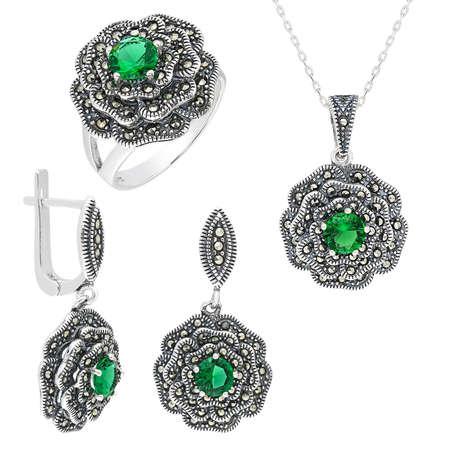 Tesbihane - Yeşil Green Glass Taşlı Çiçek Tasarım 925 Ayar Gümüş 3'lü Takı Seti