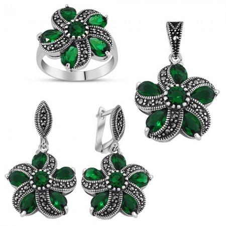 - 925 Ayar Gümüş Green Glass Taşlı Set 3