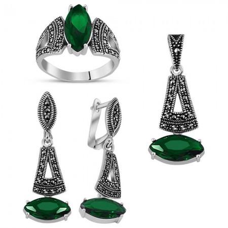 - 925 Ayar Gümüş Green Glass Taşlı Set 4