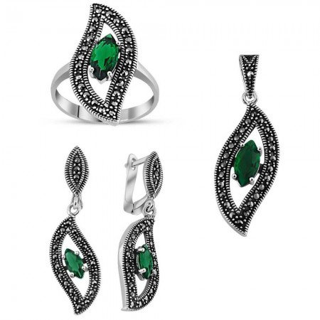 - 925 Ayar Gümüş Green Glass Taşlı Set 5