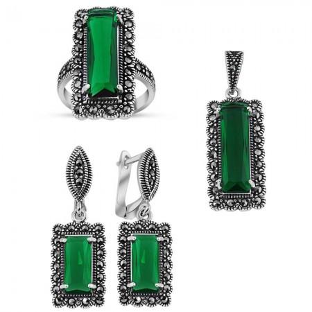 Tesbihane - 925 Ayar Gümüş Green Glass Taşlı Set