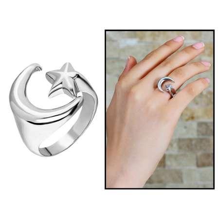 Tesbihane - 925 Ayar Gümüş Ayyıldız Tasarım Bayan Yüzük