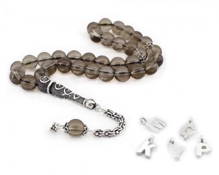Tesbihane - 925 Ayar Gümüş Püsküllü Küre Kesim Kişiye Özel İsim Yazılı Kuvars Tesbih