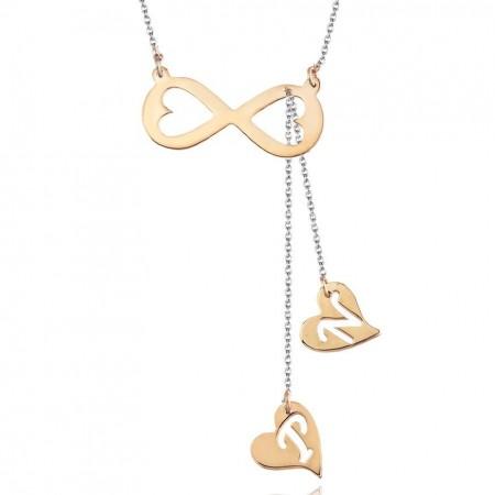 - 925 Ayar Gümüş Harf Yazılı Kalb-İ Sonsuz Kolye