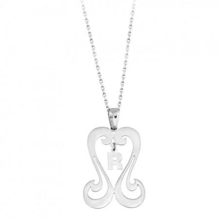 Tesbihane - 925 Ayar Gümüş Harf Yazılı Kalp Kolye (model 2)