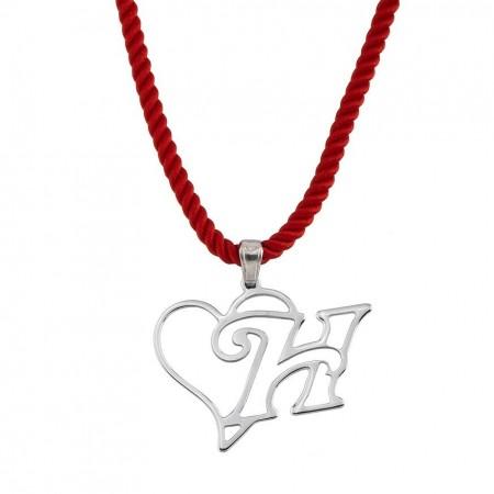 - 925 Ayar Gümüş Harf Yazılı Kalp Kolye (model 3)