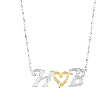 - 925 Ayar Gümüş Harf Yazılı Kalp Kolye (Model 5)