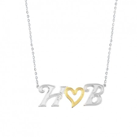 Tesbihane - 925 Ayar Gümüş Harf Yazılı Kalp Kolye (Model 5)