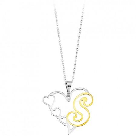 - Kalp Tasarım Kişiye Özel Harf Yazılı 925 Ayar Gümüş Bayan Kolye