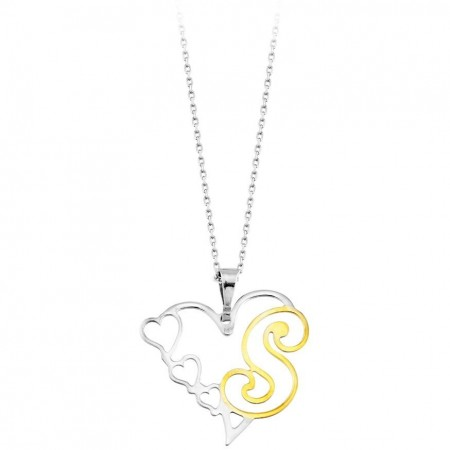 Tesbihane - Kalp Tasarım Kişiye Özel Harf Yazılı 925 Ayar Gümüş Bayan Kolye