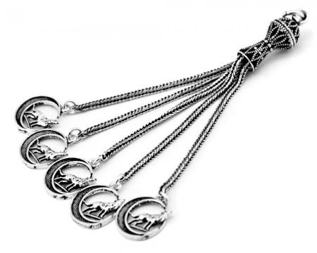 Tesbihane - 925 Ayar Gümüş Hilal Bozkurt Tesbih Püskülü