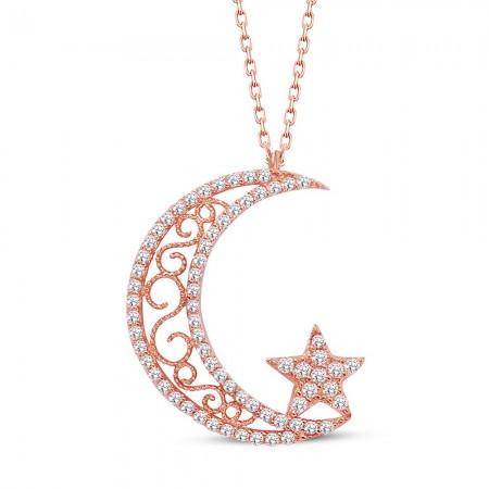 Tesbihane - 925 Ayar Gümüş Hilal ve Yıldız Kolye