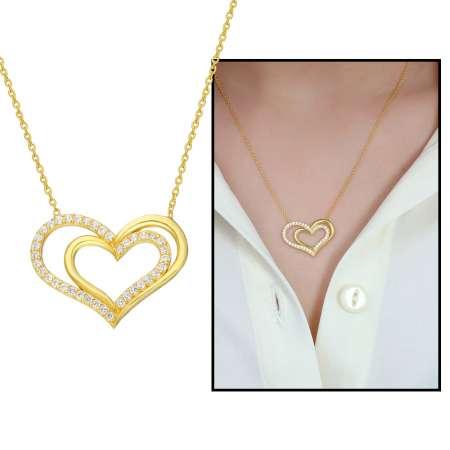 Tesbihane - Beyaz Zirkon Taşlı Çift Kalp Tasarım 925 Ayar Gümüş Bayan Kolye
