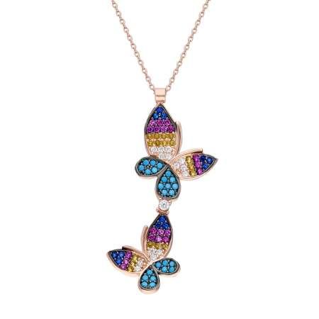 Renkli Zirkon Taşlı Çift Kelebek Tasarım 925 Ayar Gümüş Bayan Kolye - Thumbnail