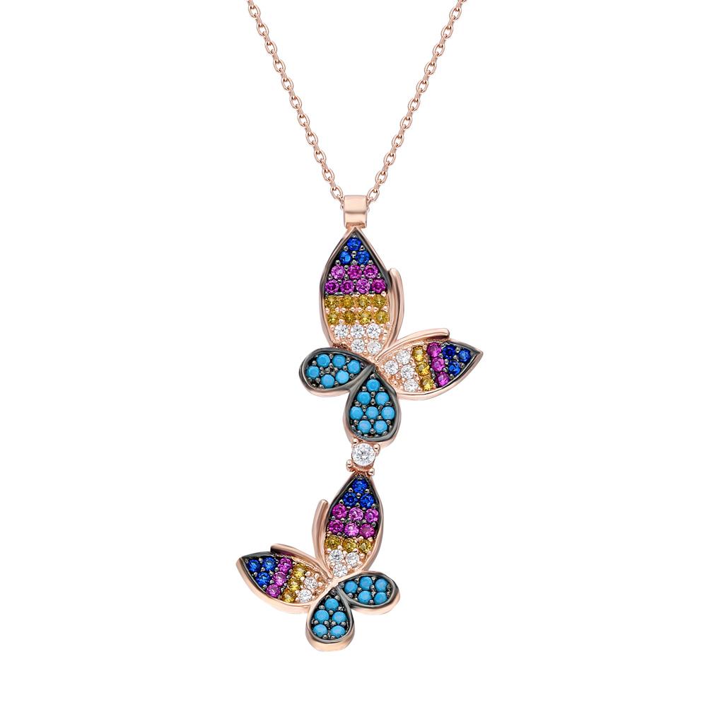 Renkli Zirkon Taşlı Çift Kelebek Tasarım 925 Ayar Gümüş Bayan Kolye