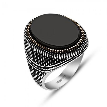 Tesbihane - İnce İşçilikli Siyah Oniks Taşlı 925 Ayar Gümüş Erkek Yüzük