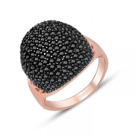 - 925 Ayar Gümüş İnce Siyah Zirkon Taşlı Rose Yüzük Model 2