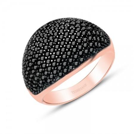 Tesbihane - 925 Ayar Gümüş İnce Siyah Zirkon Taşlı Rose Yüzük Model 3