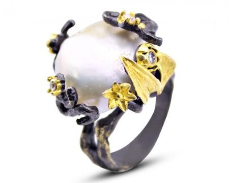Tesbihane - 925 Ayar Gümüş İnci Taşlı Yüzük (Model-4)