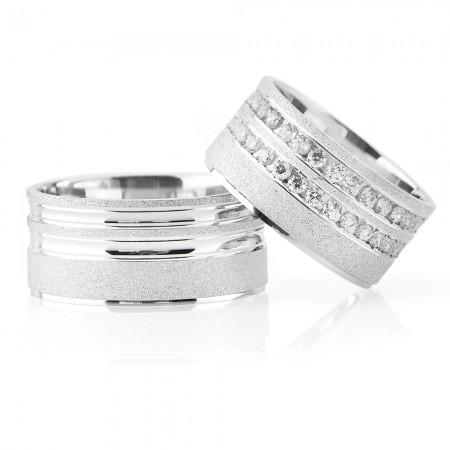 - 925 Ayar Gümüş Işıltılı Model Çift Alyans