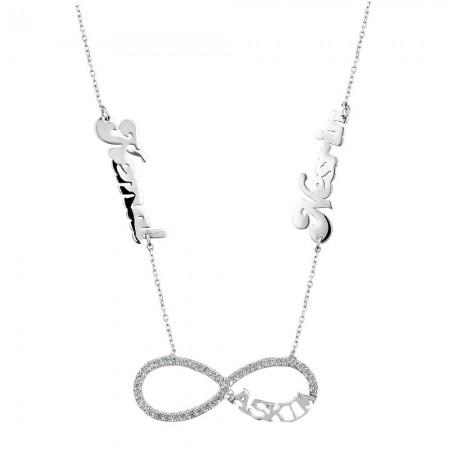 - 925 Ayar Gümüş İsim Yazılı Aşkım - Sonsuzluk Kolyesi