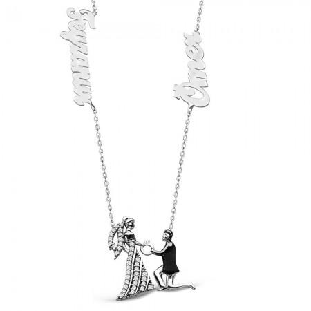 Tesbihane - 925 Ayar Gümüş İsim Yazılı Benimle Evlenirmisin Model Kolye