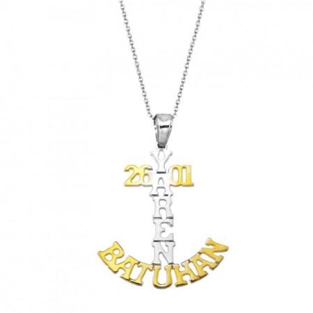 - 925 Ayar Gümüş İsim Yazılı Çapa Model Kolye