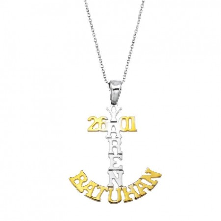 Tesbihane - 925 Ayar Gümüş İsim Yazılı Çapa Model Kolye
