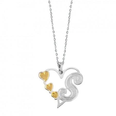 - 925 Ayar Gümüş İsim Yazılı Kalp Kolye