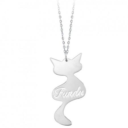 Tesbihane - Kedi Tasarım Kişiye Özel İsim Yazılı 925 Ayar Gümüş Bayan Kolye