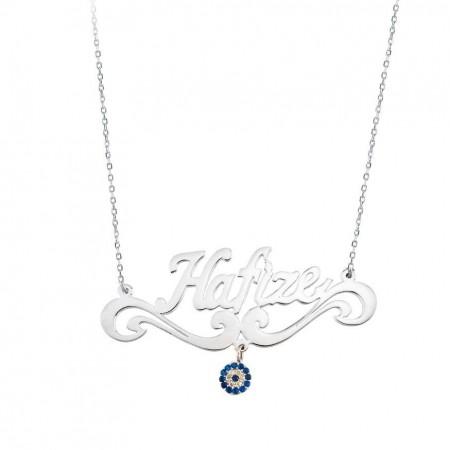 Tesbihane - Nazar Boncuklu Kişiye Özel İsim Yazılı 925 Ayar Gümüş Bayan Kolye