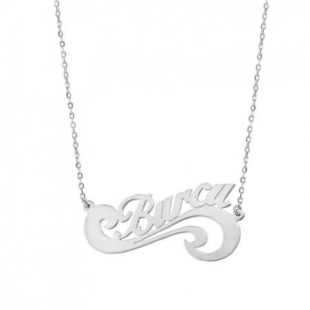 - Sonsuzluk Tasarım Kişiye Özel İsim Yazılı 925 Ayar Gümüş Bayan Kolye
