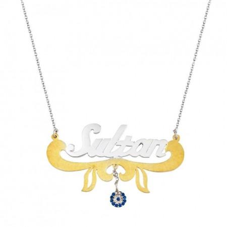 - Gold Renk Nazar Boncuklu Kişiye Özel İsim Yazılı 925 Ayar Gümüş Kolye