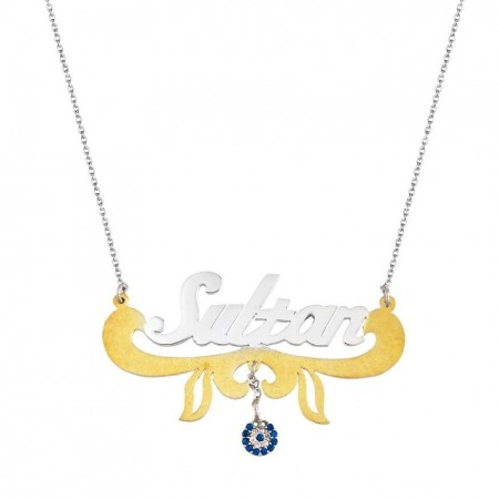 Tesbihane - Gold Renk Nazar Boncuklu Kişiye Özel İsim Yazılı 925 Ayar Gümüş Kolye
