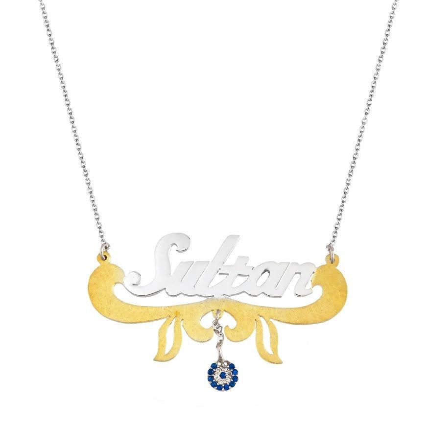 Gold Renk Nazar Boncuklu Kişiye Özel İsim Yazılı 925 Ayar Gümüş Kolye