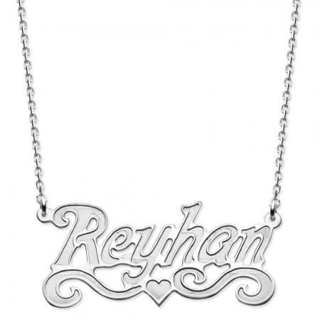 Tesbihane - 925 Ayar Gümüş Küçük Kalp Tasarım Kişiye Özel İsim Yazılı Bayan Kolye