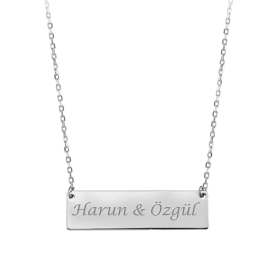 Dikdörtgen Tasarım Kişiye Özel İsim Yazılı 925 Ayar Gümüş Bayan Kolye