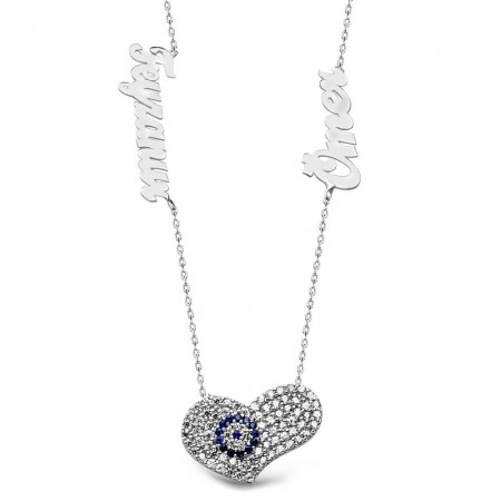 - 925 Ayar Gümüş İsim Yazılı Nazarlı Kalp Model Kolye